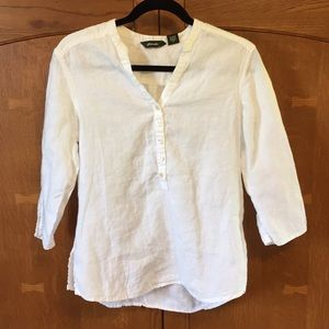 Eddie Bauer ladies small white linen shirt